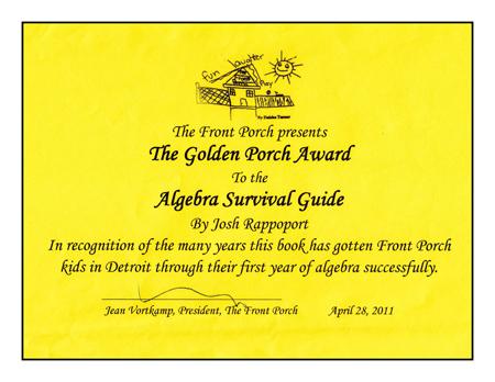 Algebra Survival Guide Wins AWARD!